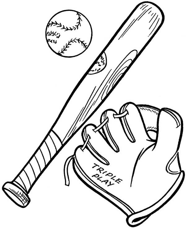 600x734 Baseball Glove, A Ball And A Bat Coloring Page
