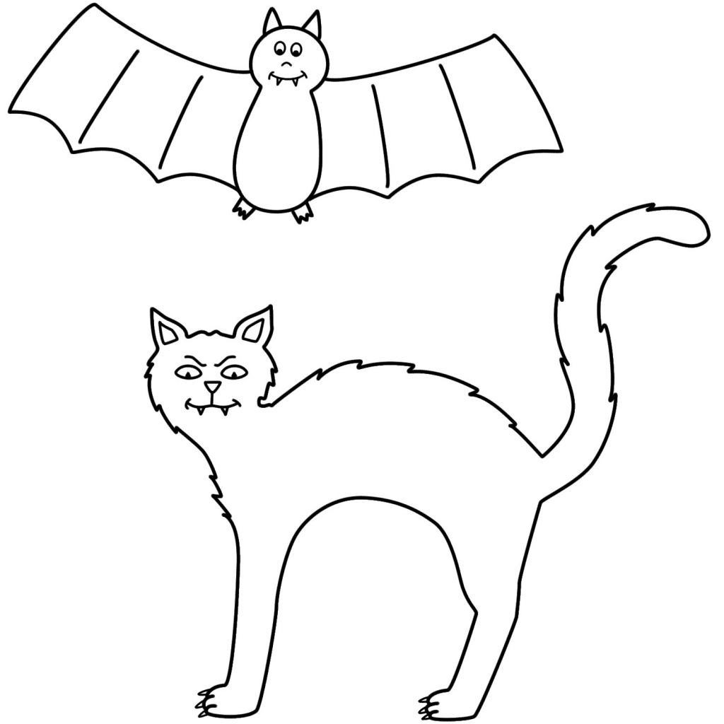 1024x1024 Bat Coloring Pages Preschool New Halloween Cat Coloring Page