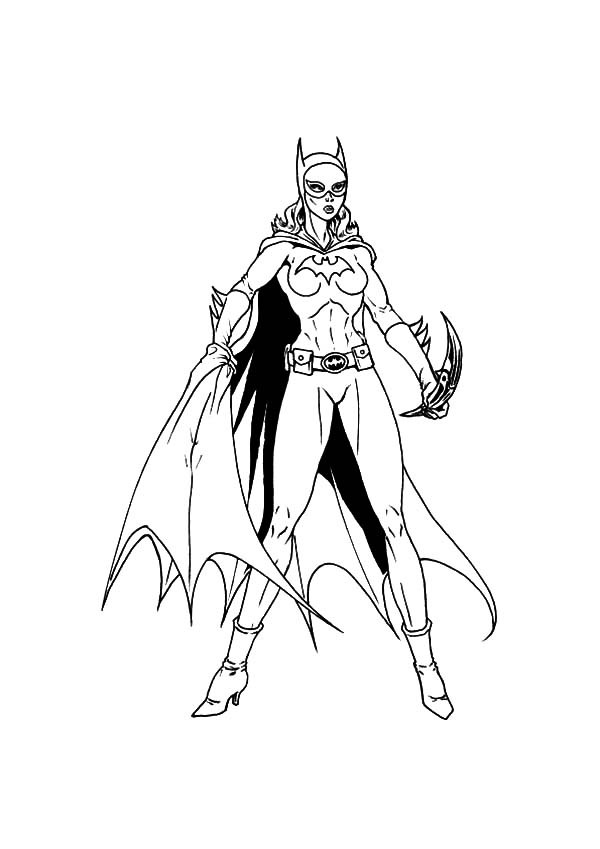 600x849 Batgirl Ready To Throw Her Weapon Coloring Pages Best Place To Color
