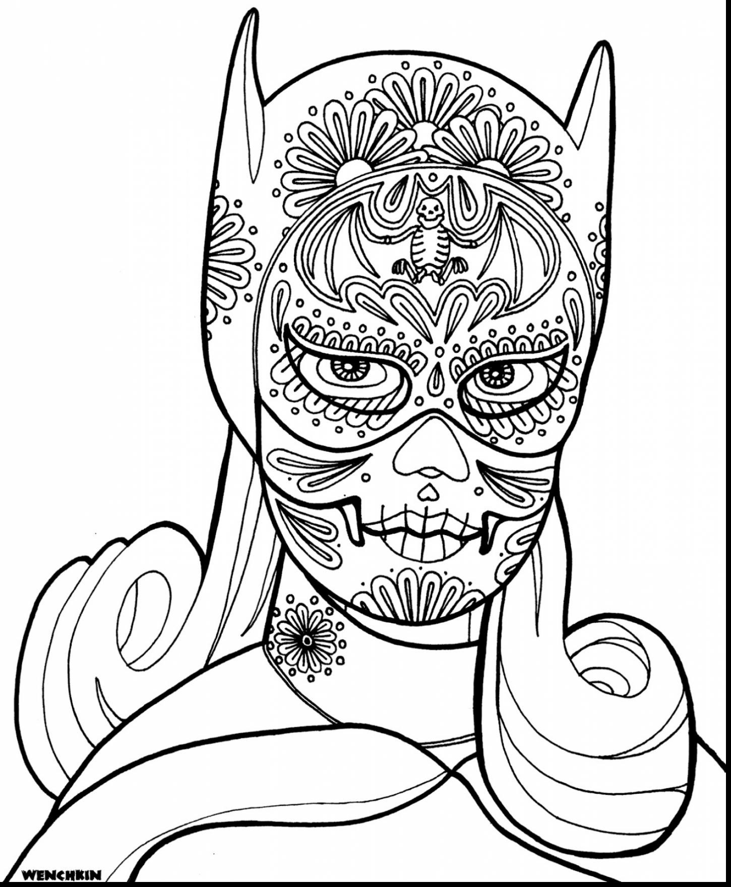 1450x1760 Beautiful Girly Skull Coloring Pages With Batgirl Magnificent Bat