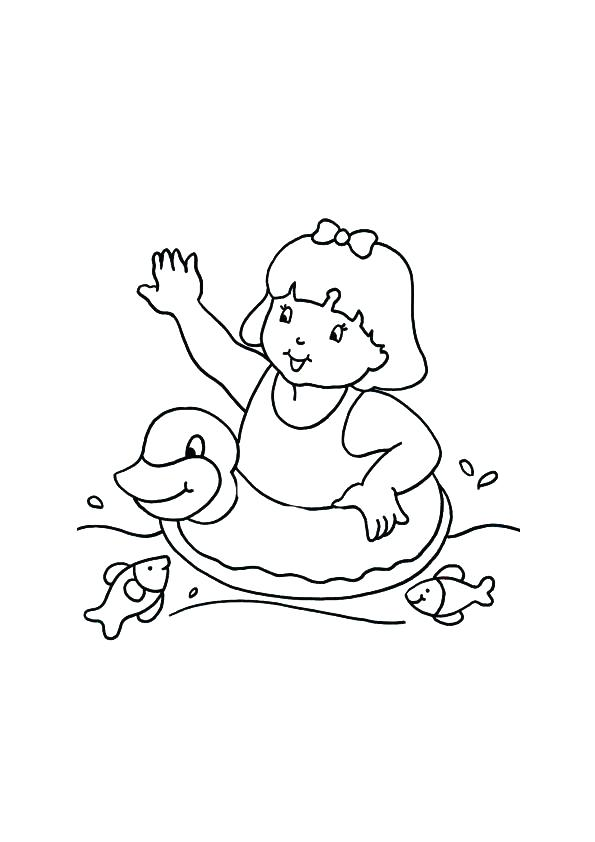 595x842 Swimming Pool Coloring Pages Barbie Swimming Coloring Pages Free