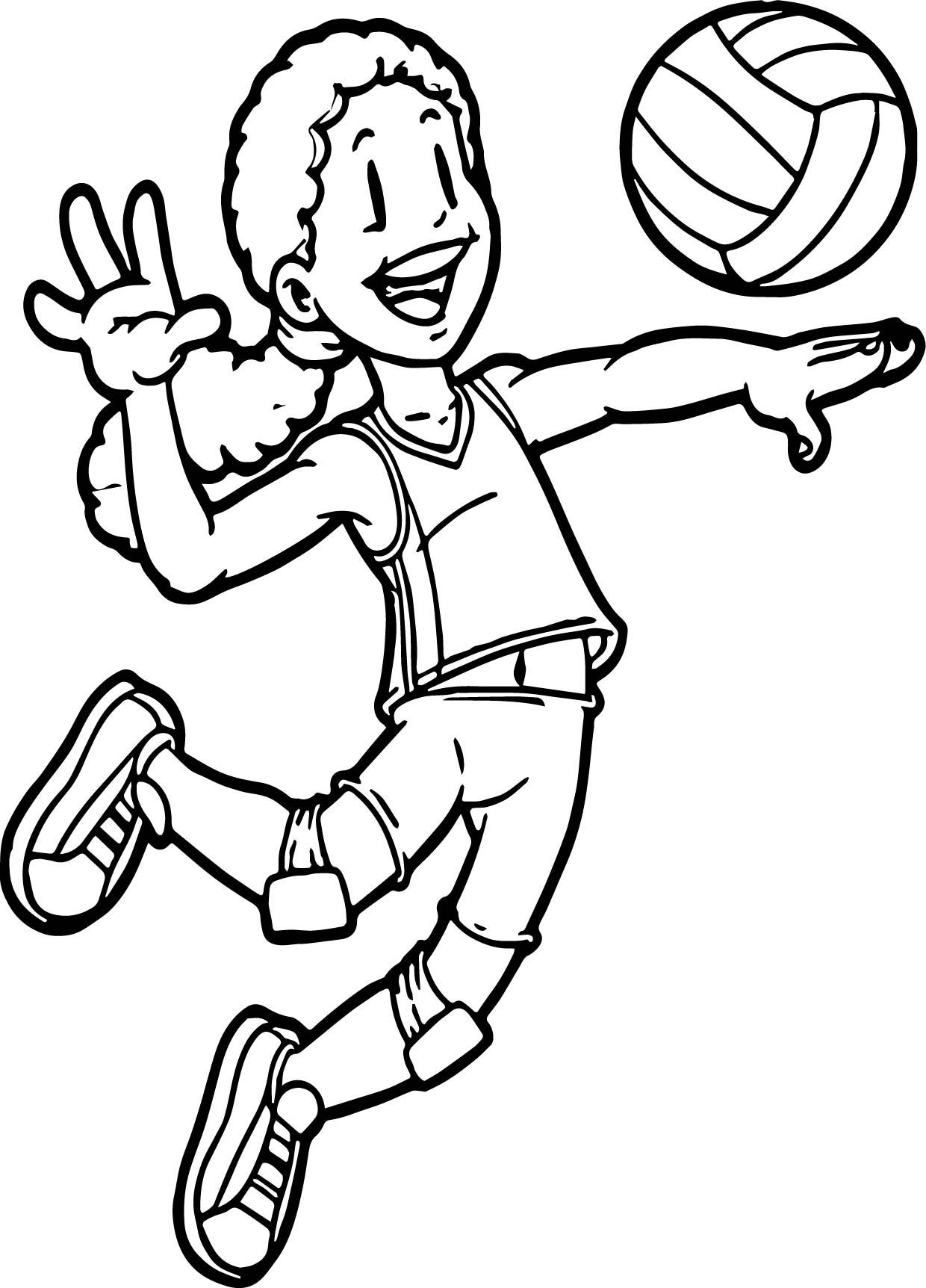 1240x1724 Volleyball Outline Coloring Pages Sports Printable Adult Beach