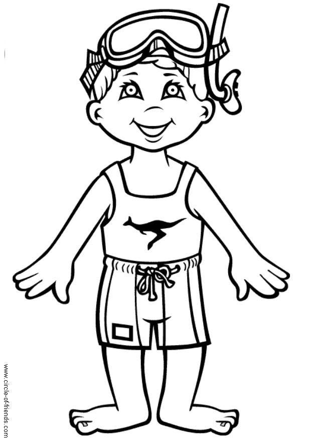 620x875 Coloring Page Hans Goes Swimming