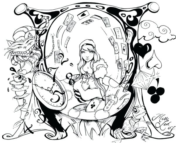 600x488 Alice In Wonderland Printable Coloring Pages Psychedelic