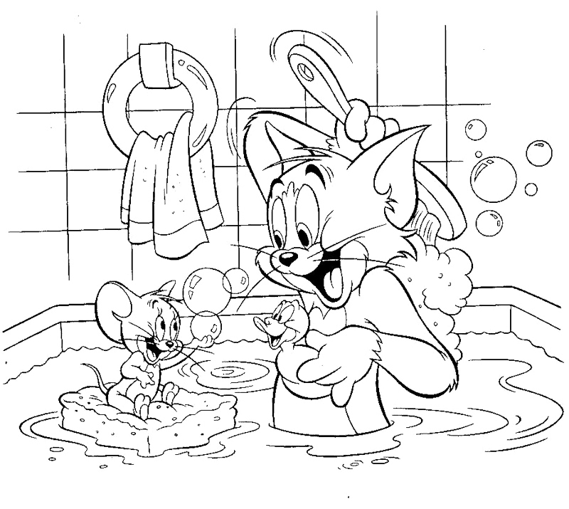 800x715 Bathroom Coloring Pages Tom And Jerry Shared Bathroom Coloring