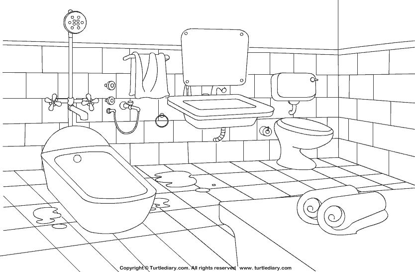 834x546 Bathroom Coloring Sheet Turtle Diary