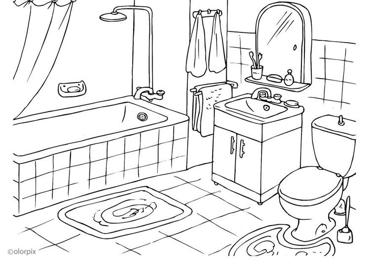 750x531 Coloring Page Bathroom