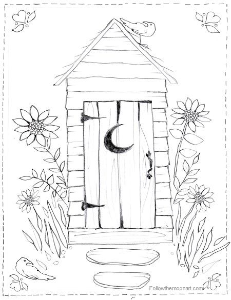 450x585 Country Outhouse Bathroom Coloring Page Coloring Pages
