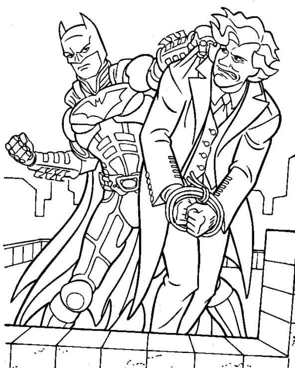 592x737 Batman Manages To Capture Villains Coloring Pages