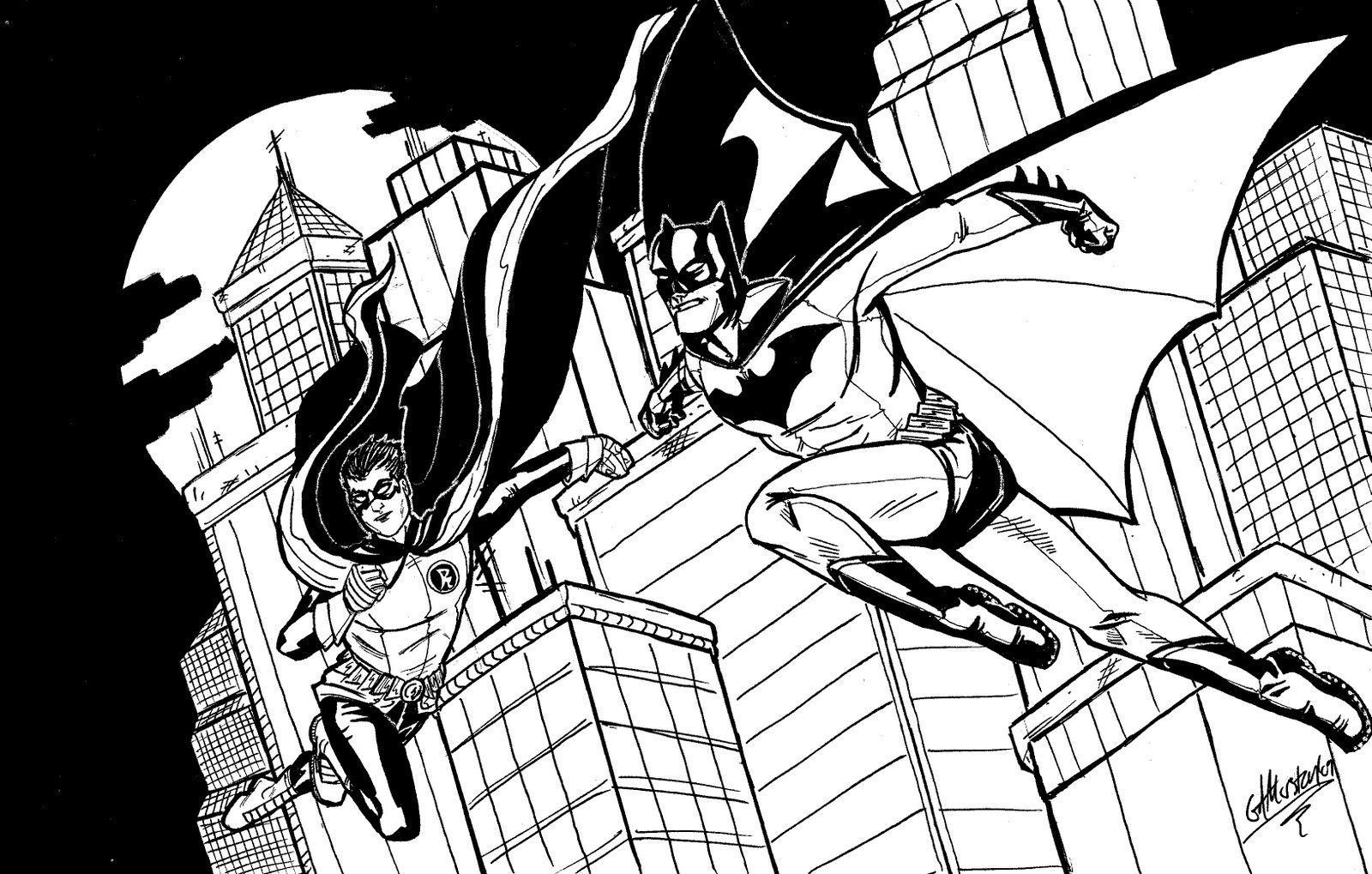 1600x1019 Batman And Robin Coloring Pages In Action