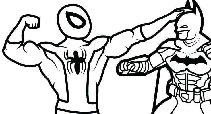 735x400 Free Spiderman And Batman Coloring Pages Page Hard Color
