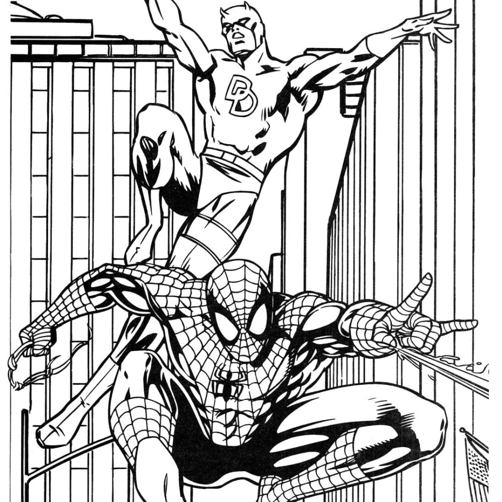 1024x1024 Batman And Spiderman Coloring Pages