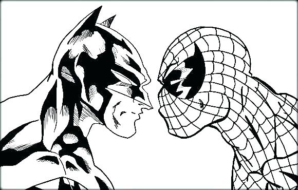 580x370 Batman And Spiderman Coloring Pages Batman And Spiderman Coloring