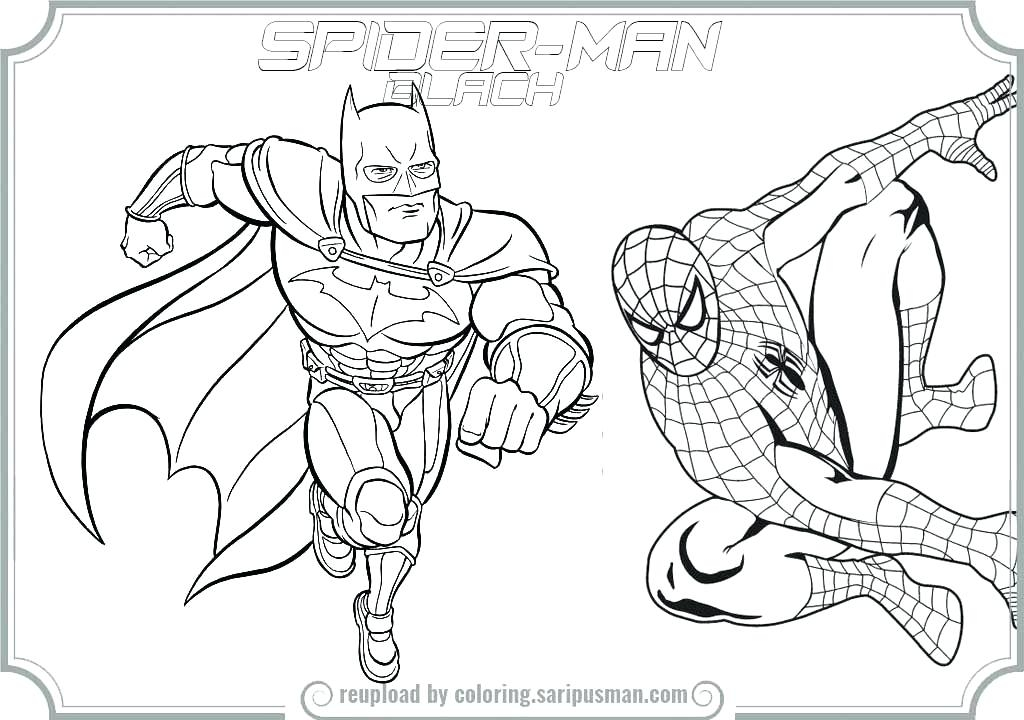 1024x720 Batman And Spiderman Coloring Pages Spiderman Coloring Page Batman