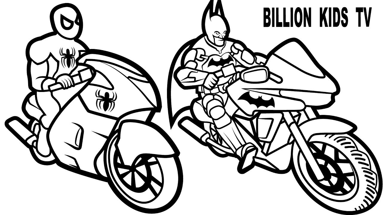 1280x720 Batman And Spiderman Coloring Pages Color Bros