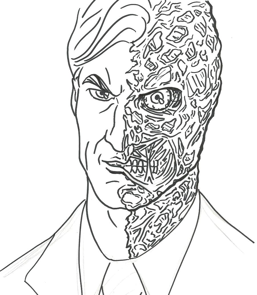 900x1035 Two Face Coloring Pages The Dark Knight Dent Batman Arilitv Two