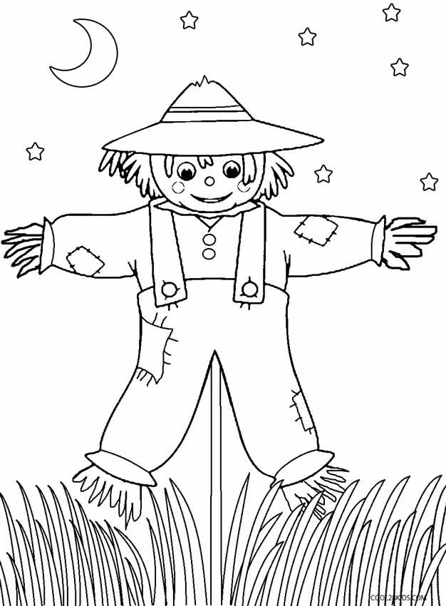 626x850 Printable Scarecrow Coloring Pages For Kids