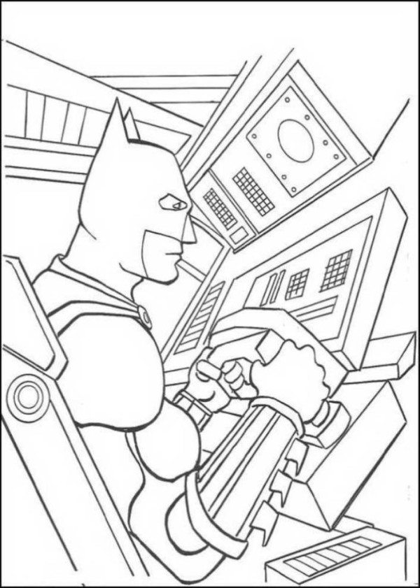 600x841 Batman Inside Batmobile Coloring Page
