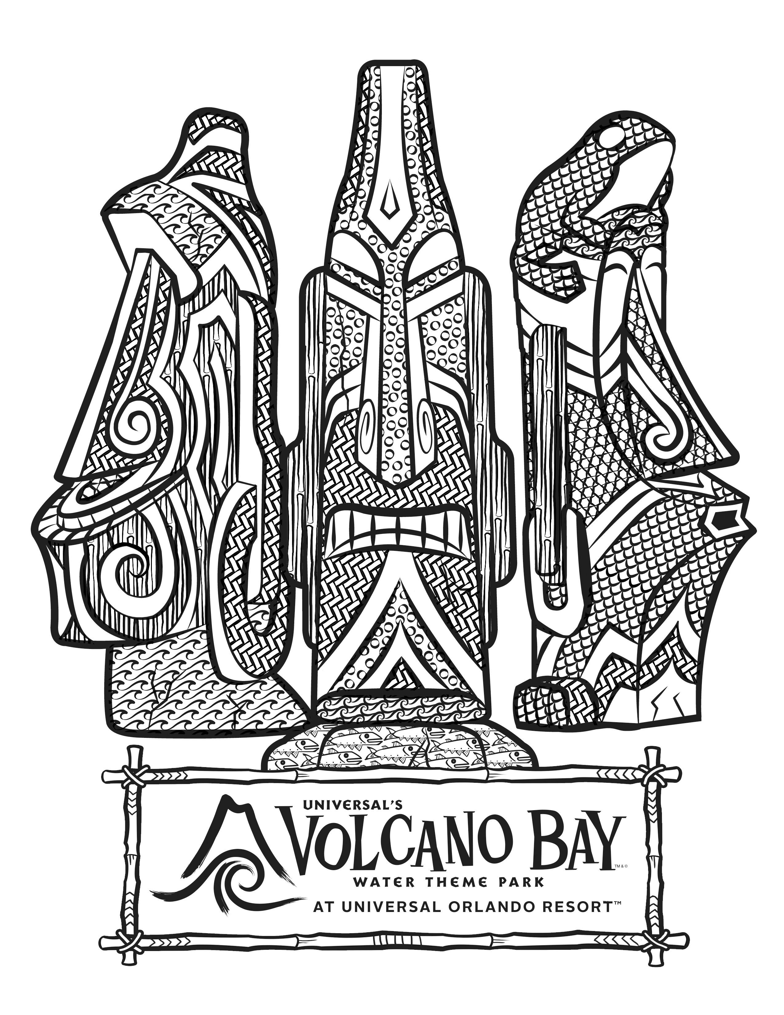 2550x3300 Universal's Volcano Bay Tikis Coloring Page Theme Park Comic