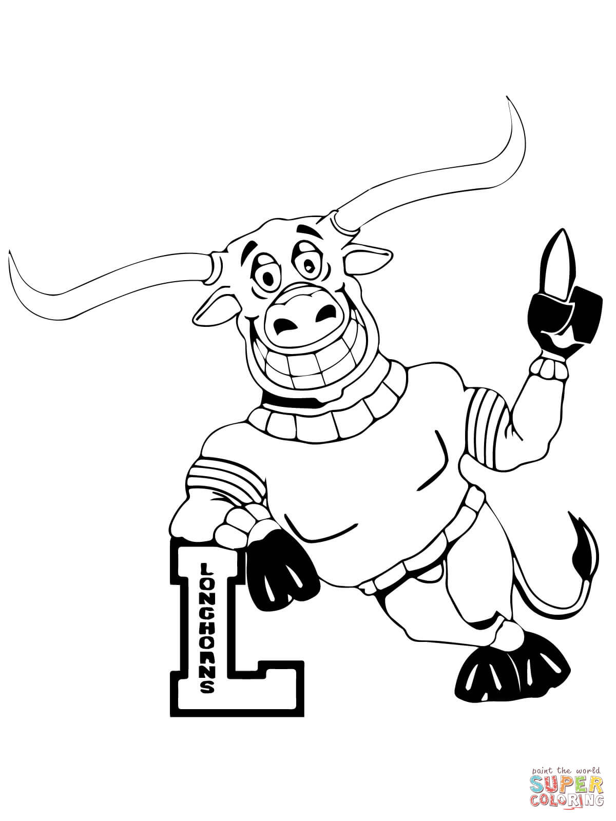 1200x1600 Ut Longhorn Mascot Coloring Page And Super Bowl Sheets