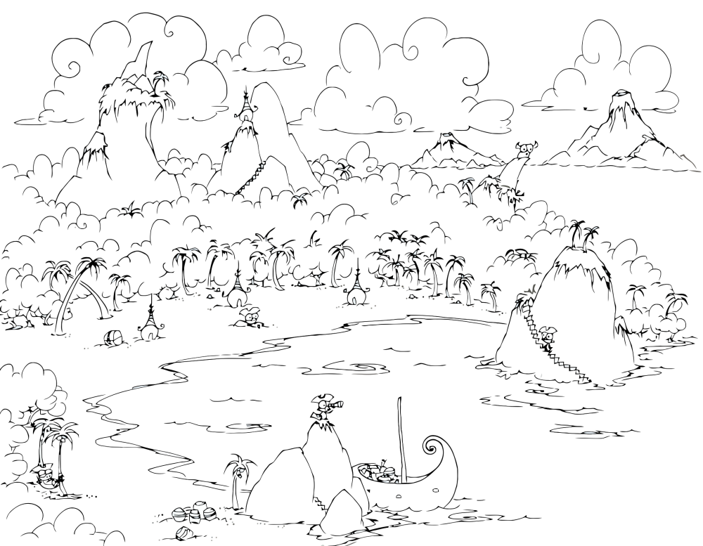 1000x777 Coloring Page A Monkey Pirate Cove