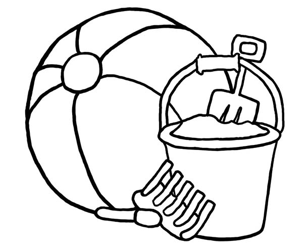 600x497 A Beach Ball And Beach Bucket Sets Coloring Page