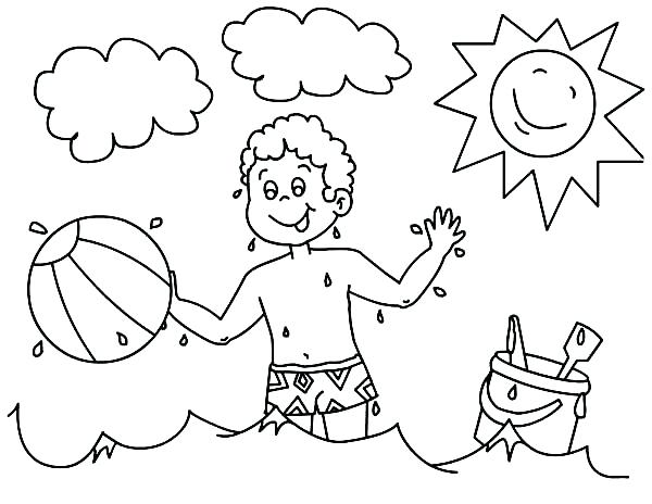 600x464 A Boy Playing With His Beach Ball Coloring Page Download Print