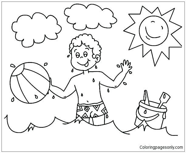 613x503 A Boy Playing With His Beach Ball Coloring Page Free Coloring