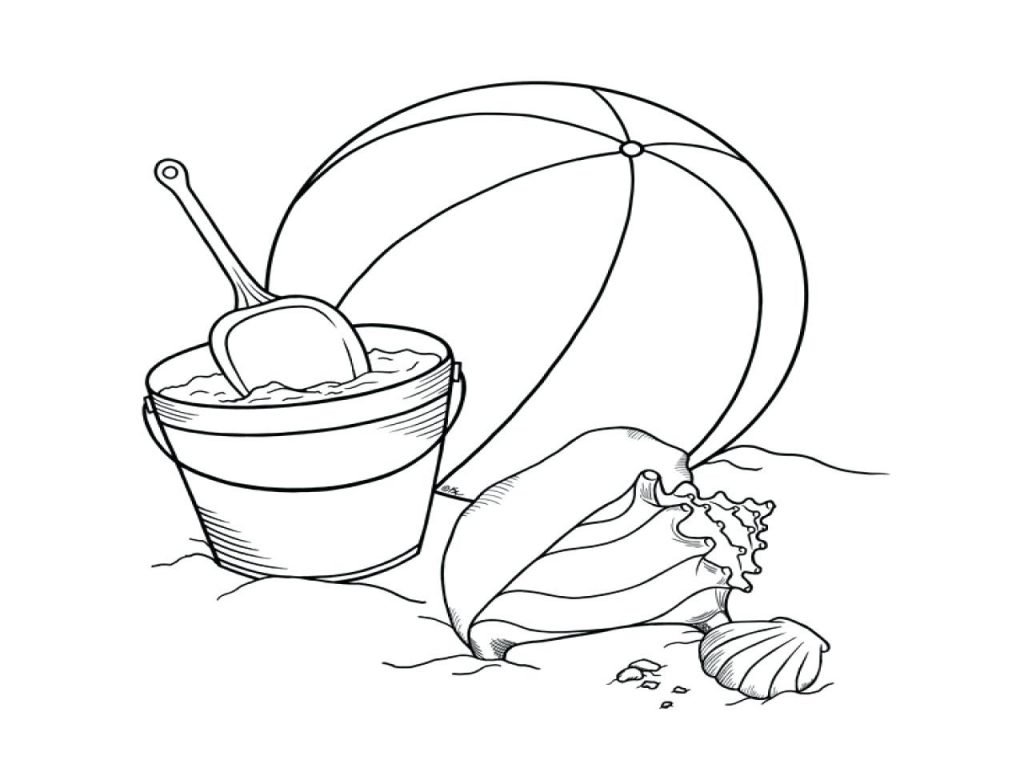 1024x768 Coloring Pages Beach Ball Coloring Page Size Bucket Pages Shovel
