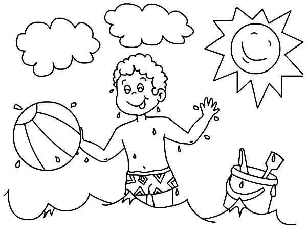 600x464 A Boy Playing With His Beach Ball Coloring Page