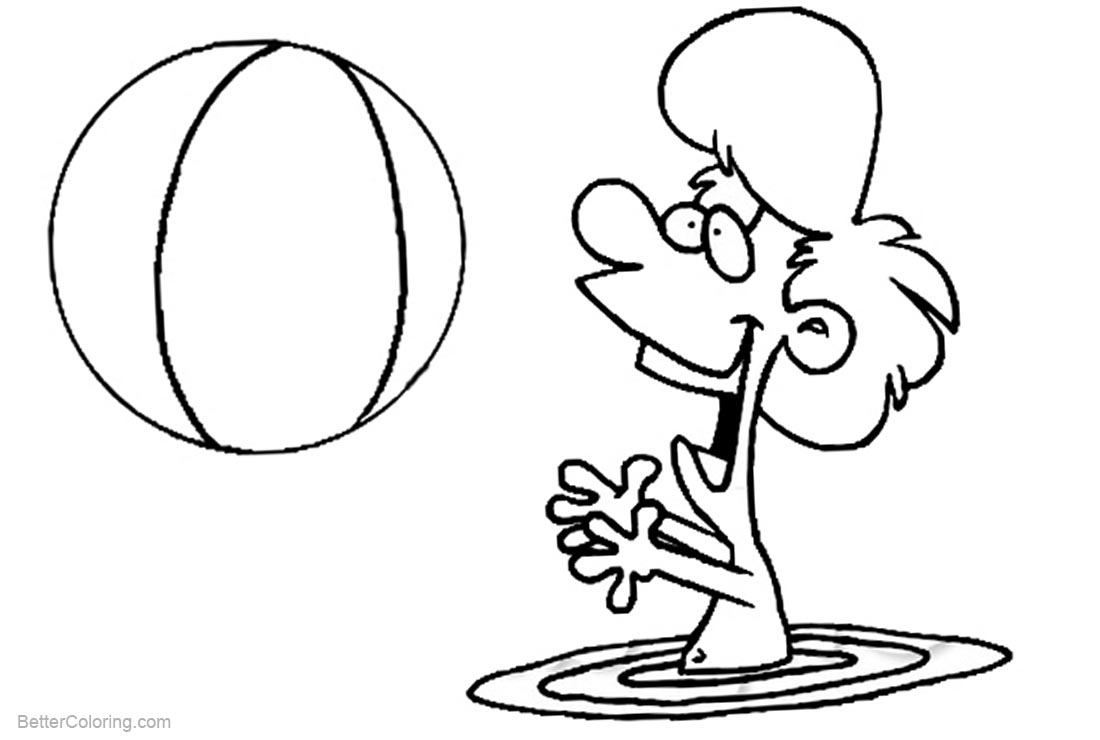 1100x740 Playing Beach Ball Coloring Pages