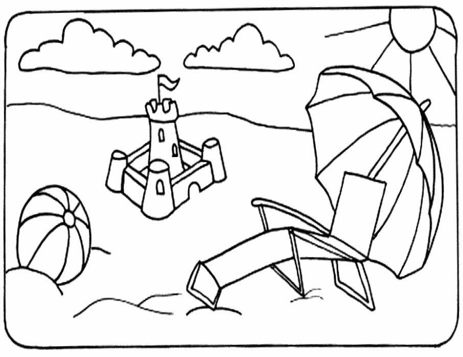 906x700 Summer Chair In A Beach Coloring Page Beach Pages