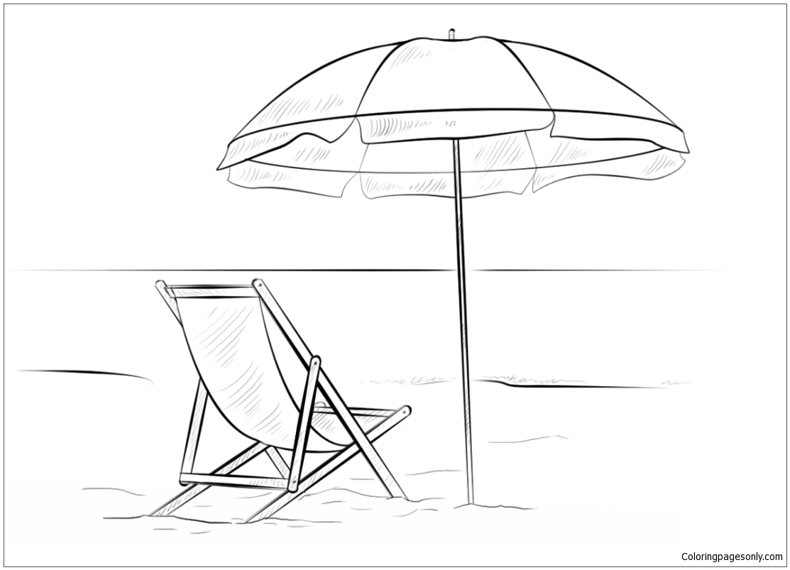 1113x803 Beach Chair And Umbrella Coloring Page