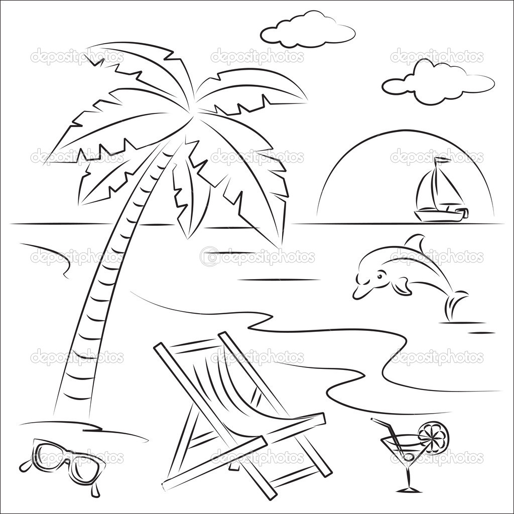 1024x1024 Beach Scene Coloring Page Free Printable Pages Throughout