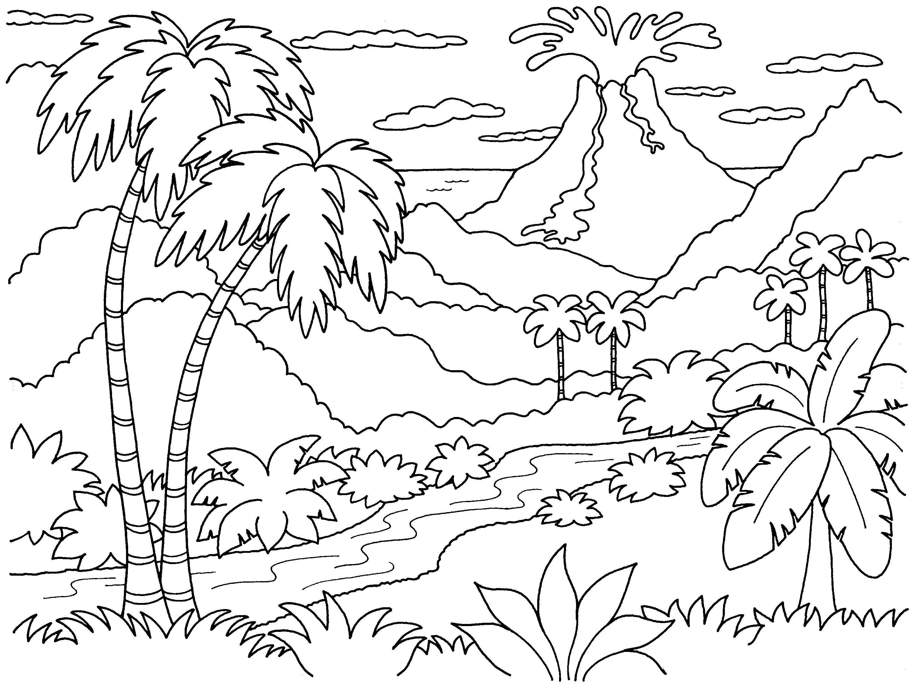 3000x2267 Hawaii Beach Coloring Pages Download Coloring For Kids