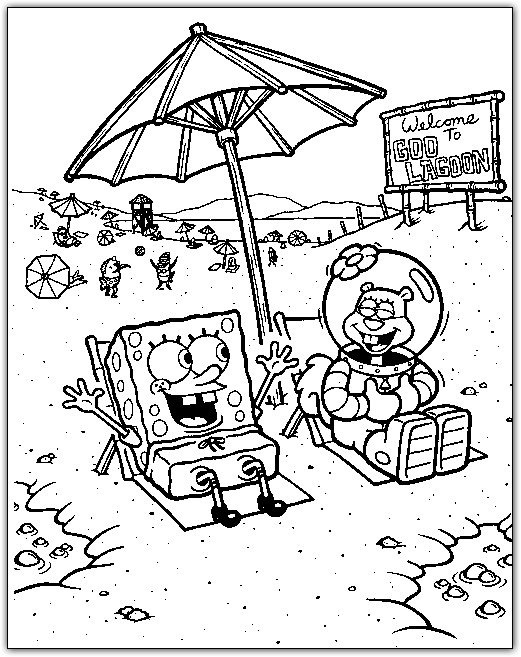 521x657 Spongebob And Sandy On The Beach Coloring Page