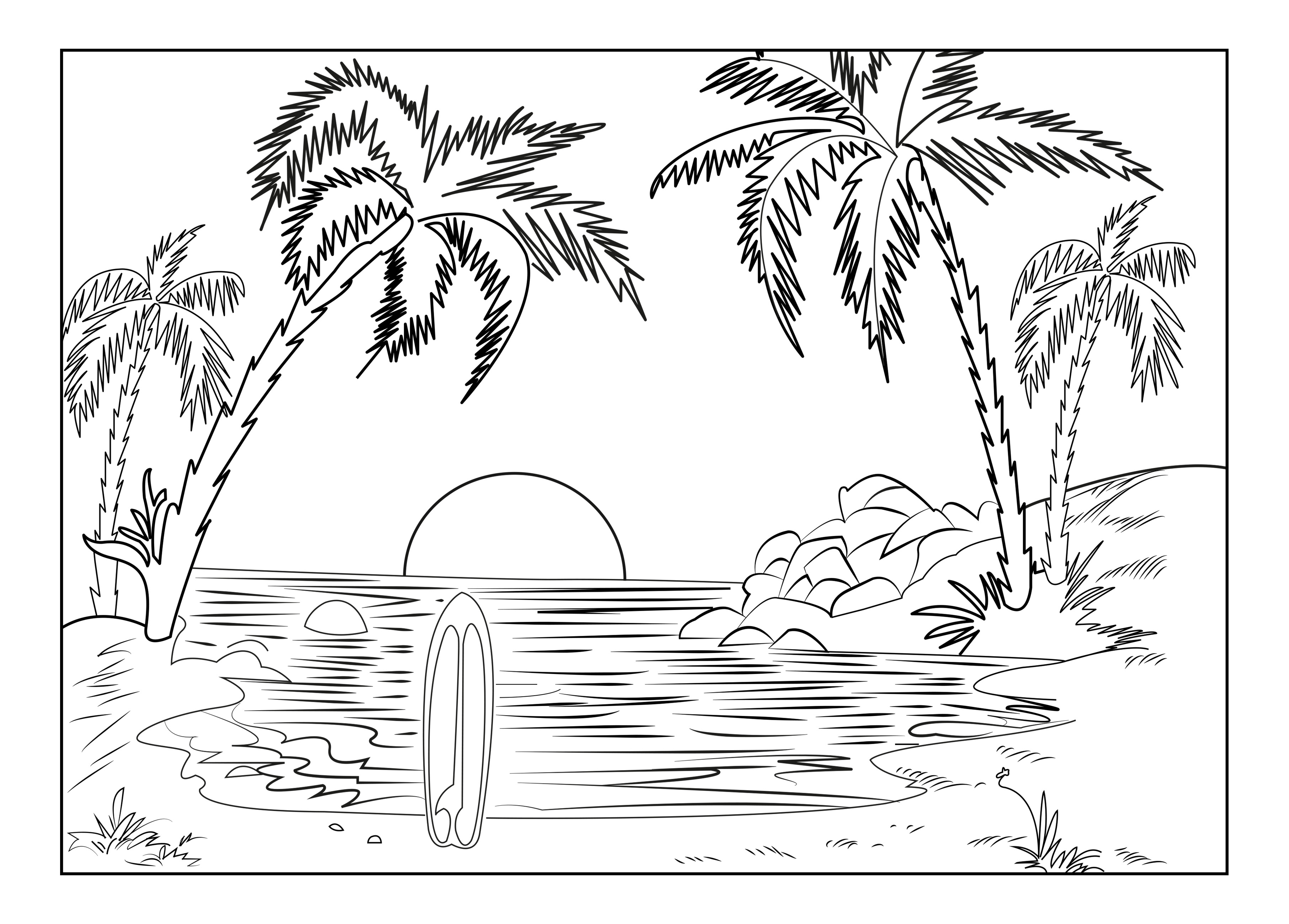 3625x2598 Simple Adult Coloring Pages Beach Printable