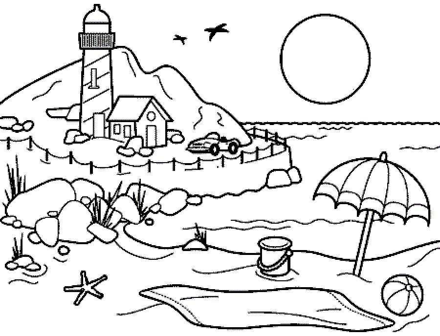 900x688 Beach Scene Coloring Pages