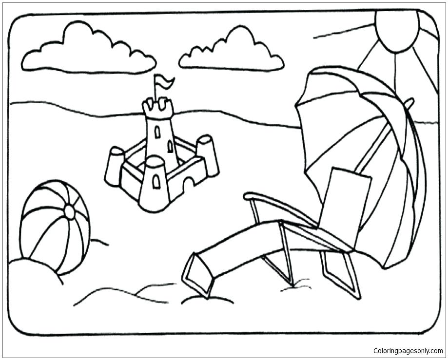 919x739 Free Coloring Pages Summer Summer Beach Coloring Page Free