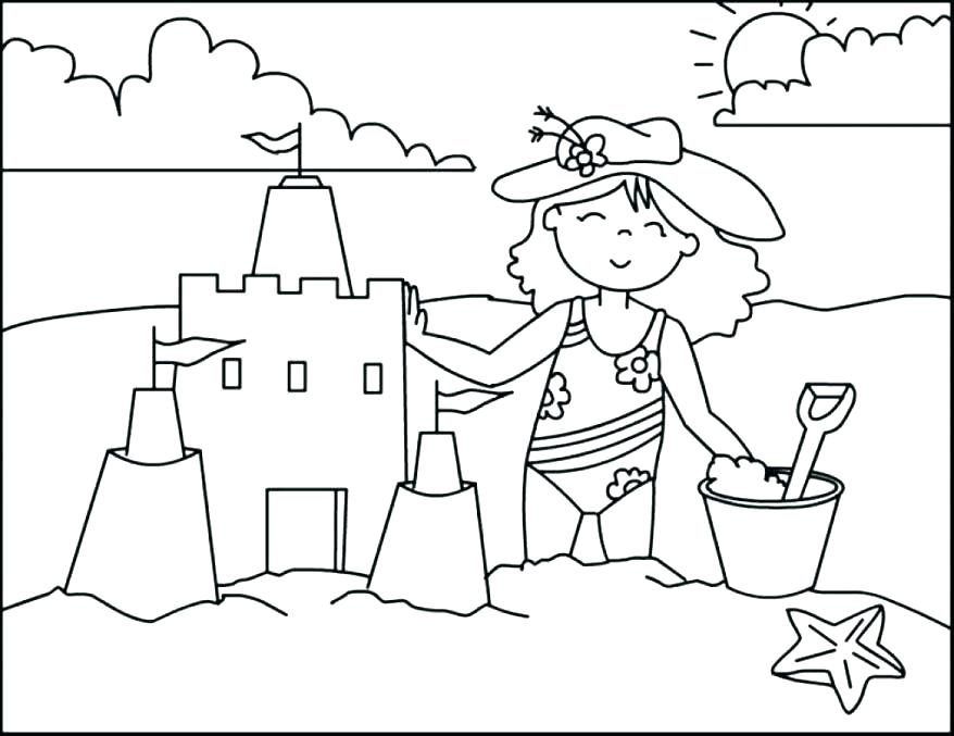 878x677 Summer Coloring Pages Printable Beach Free Printable Summer