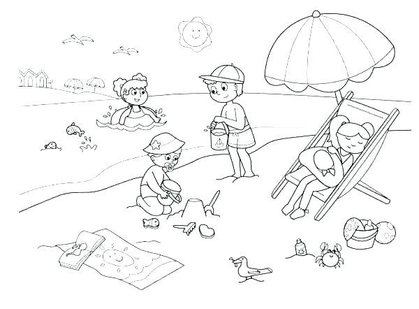 600x442 Beach Coloring Pages Printable Devon Creamteas