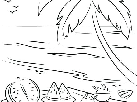 440x330 Beach Coloring Pages Beach Coloring Page Summer Beach Picnic