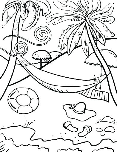 392x507 Beach Scene Coloring Sheets Summer Coloring Pages A Beach Scene