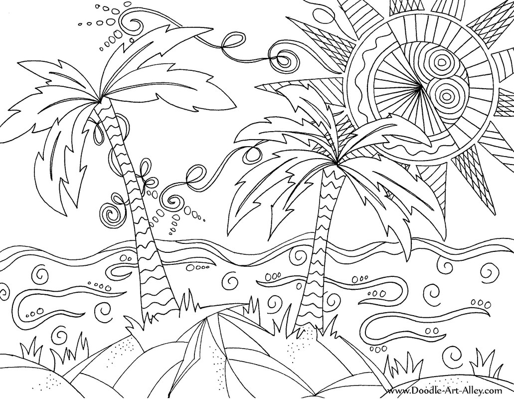 1031x800 Beach Scene Coloring Page Free Printable Pages