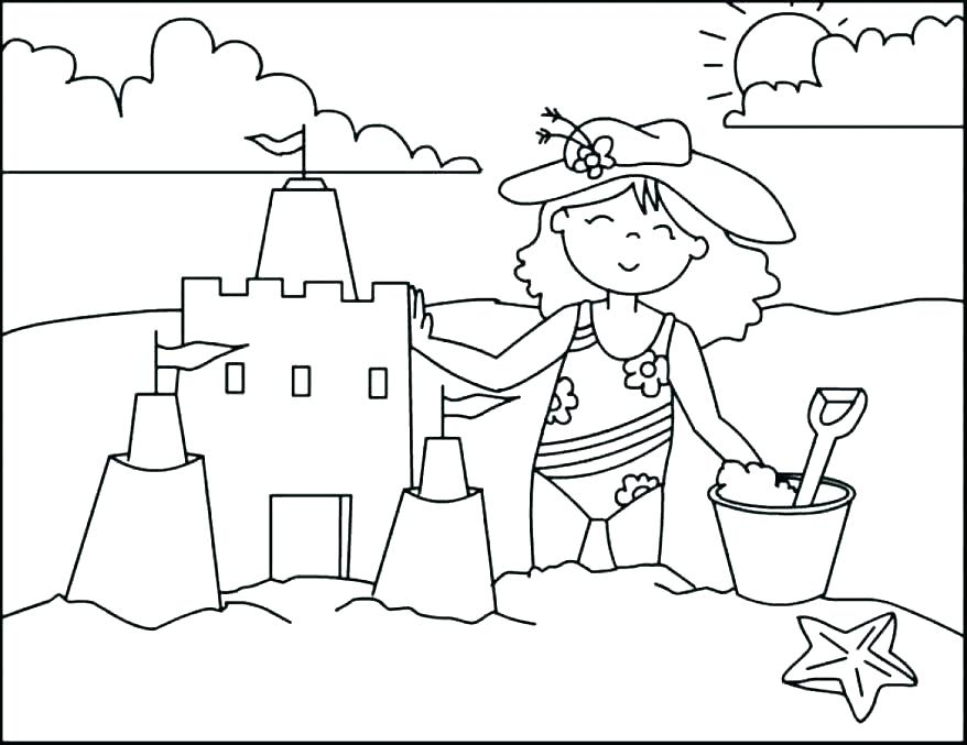 878x677 Beach Scene Printable Coloring Pages Page