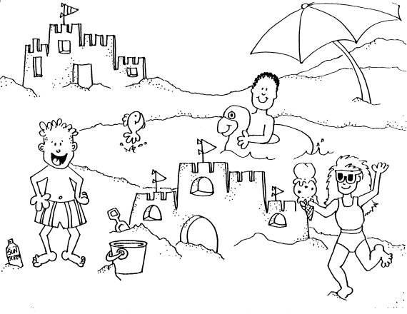 570x440 Coloring Pages Of Beach Scenes Charming Beach Coloring Page