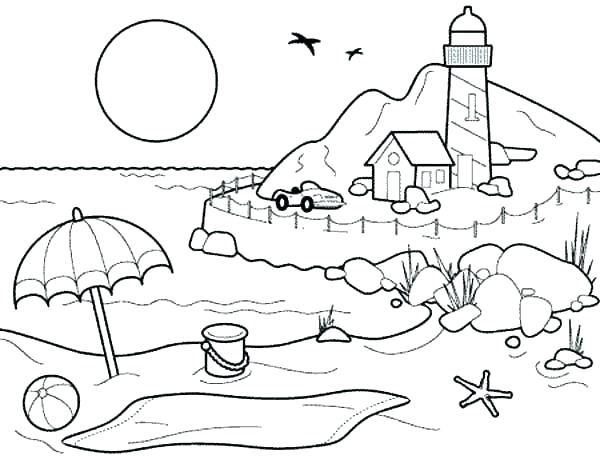 600x459 Free Colouring Pages Beach Scene Beach Scene Coloring Pages Free
