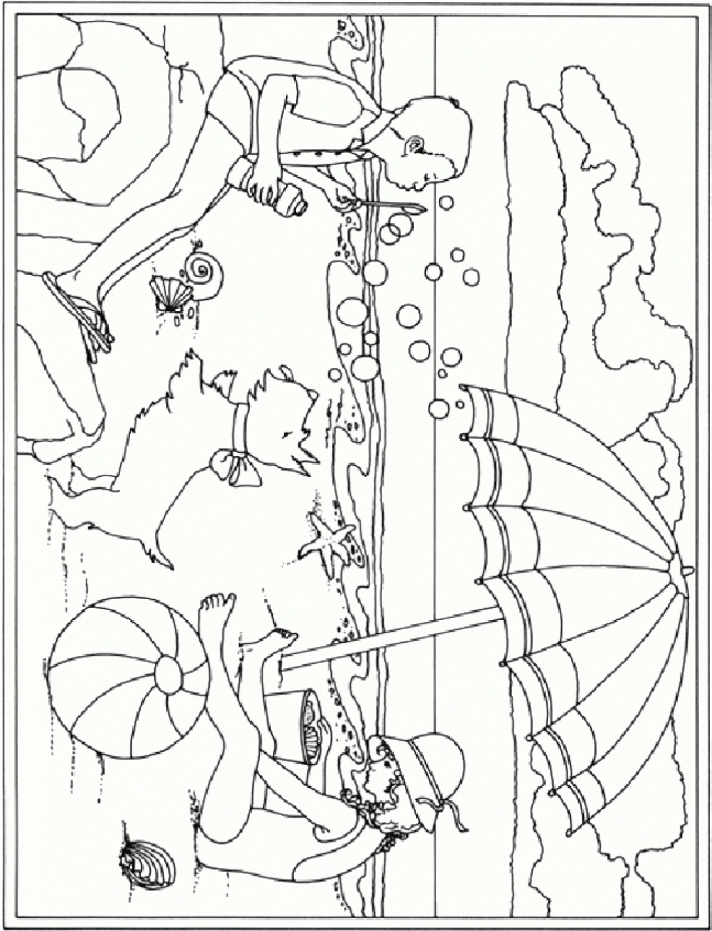 1025x1341 Special Beach Scene Coloring Page Best And Awesome Ideas