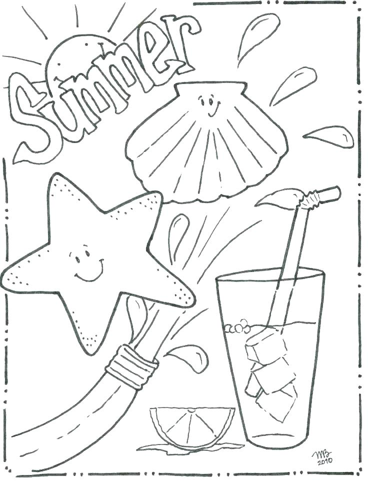 736x962 Beach Scene Coloring Page Deepart