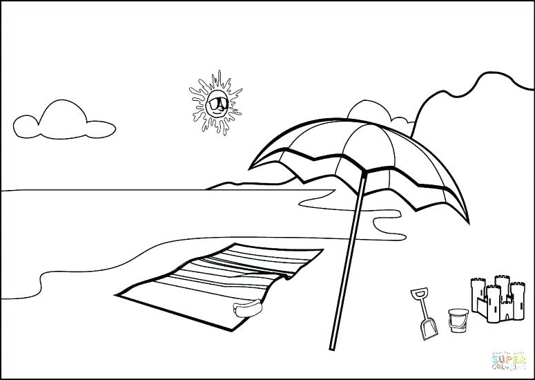 775x550 Beach Scene Coloring Page
